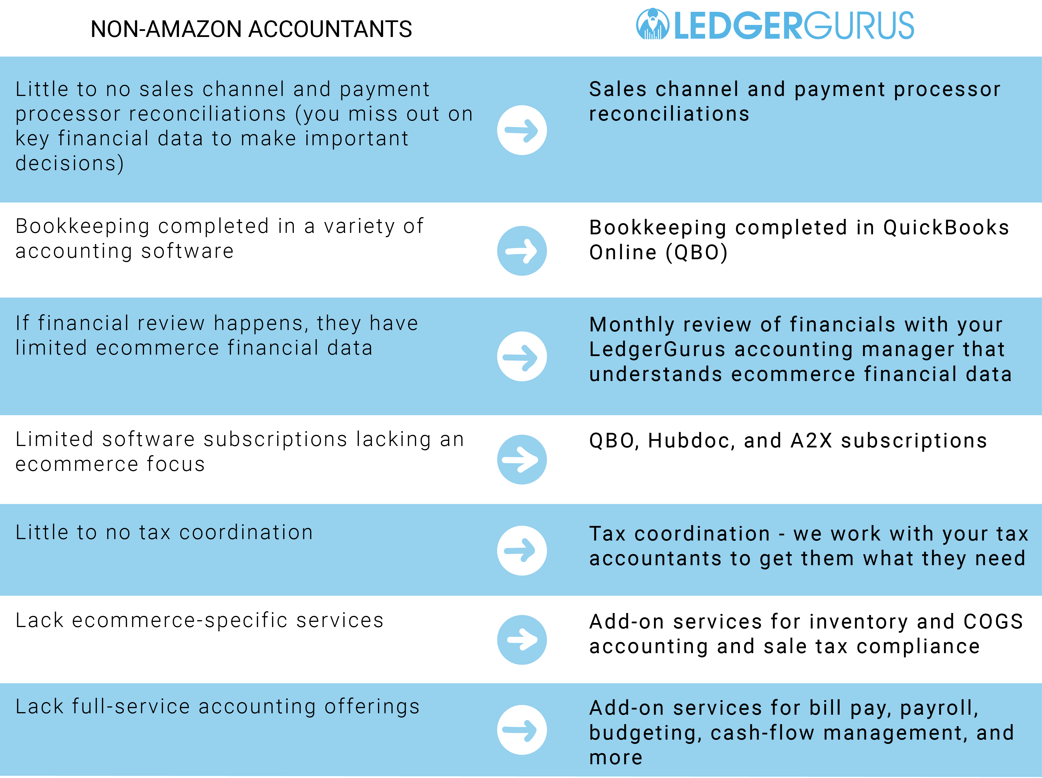 Amazon Accounting Services - Non-Amazon Accountants vs LedgerGurus